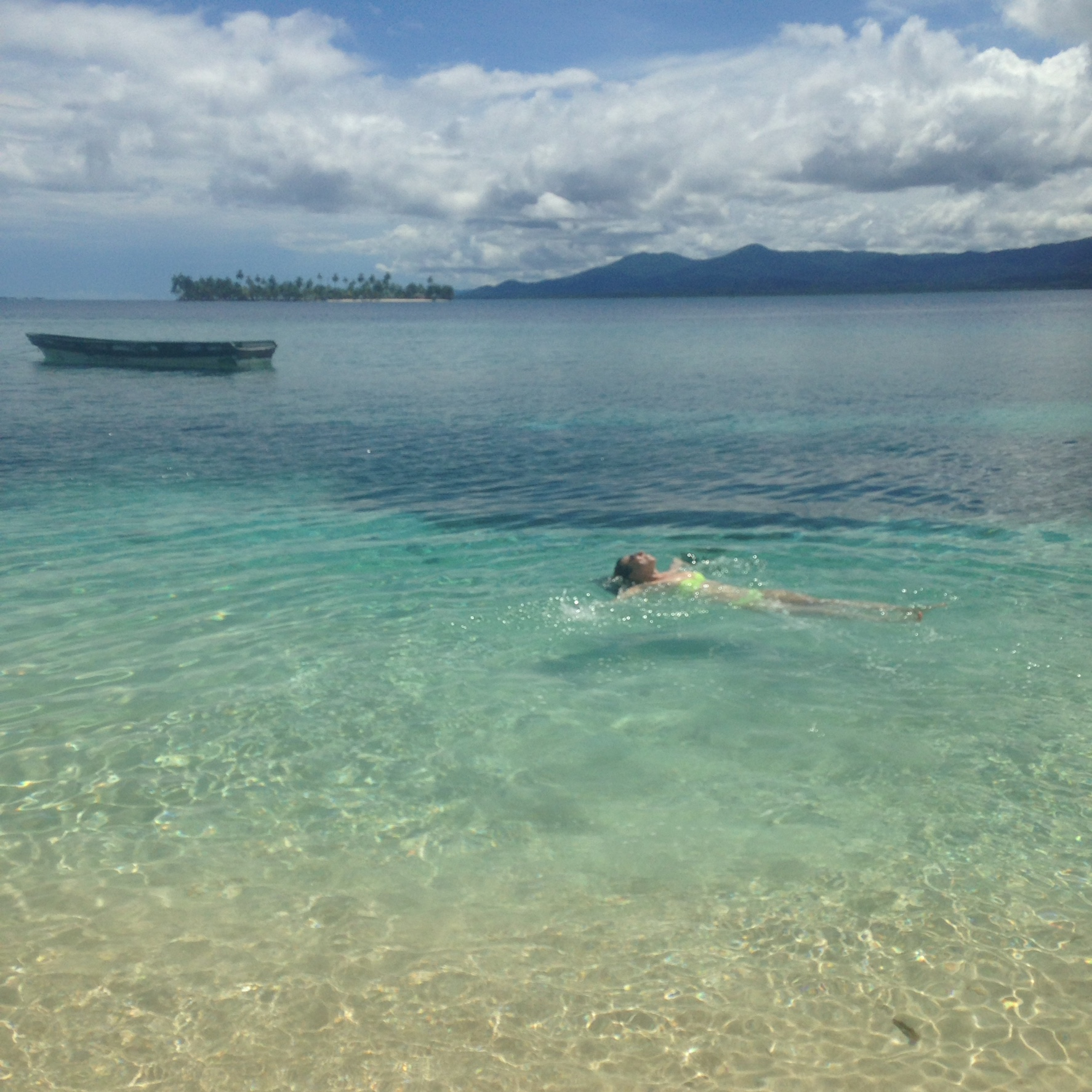 Floating in the Caribbean Sea
