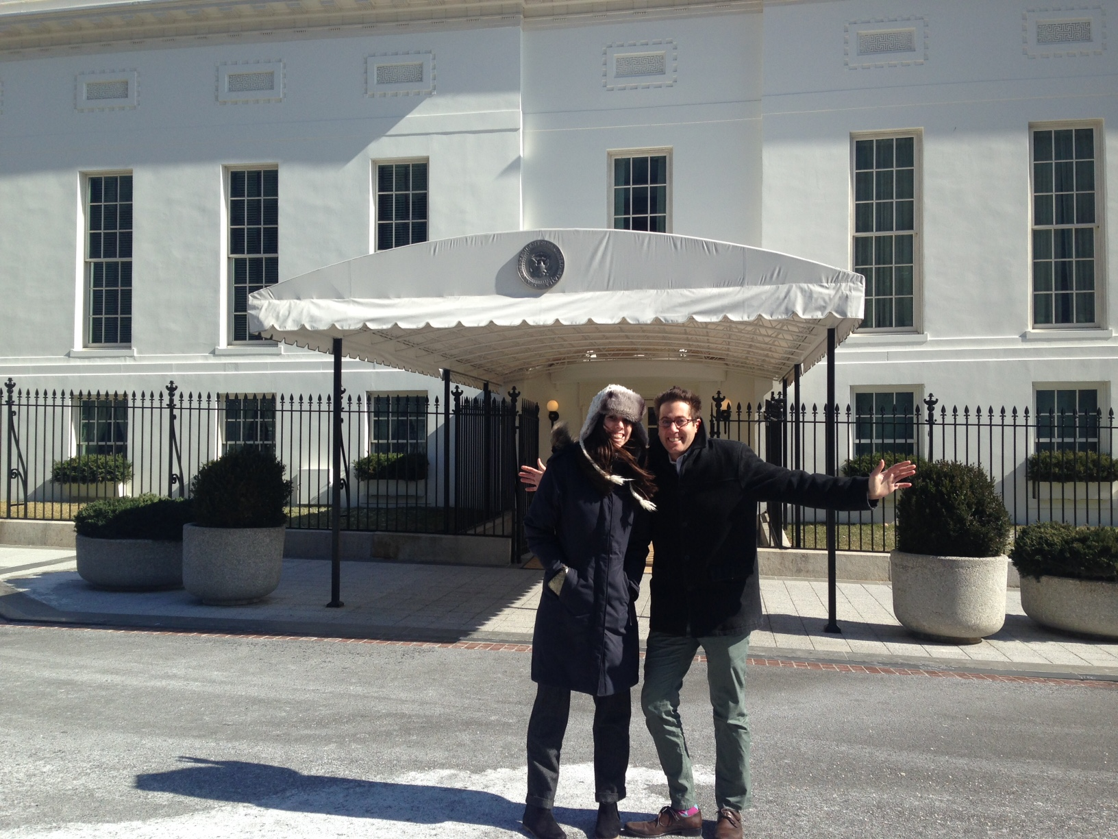 freezing outside the West Wing