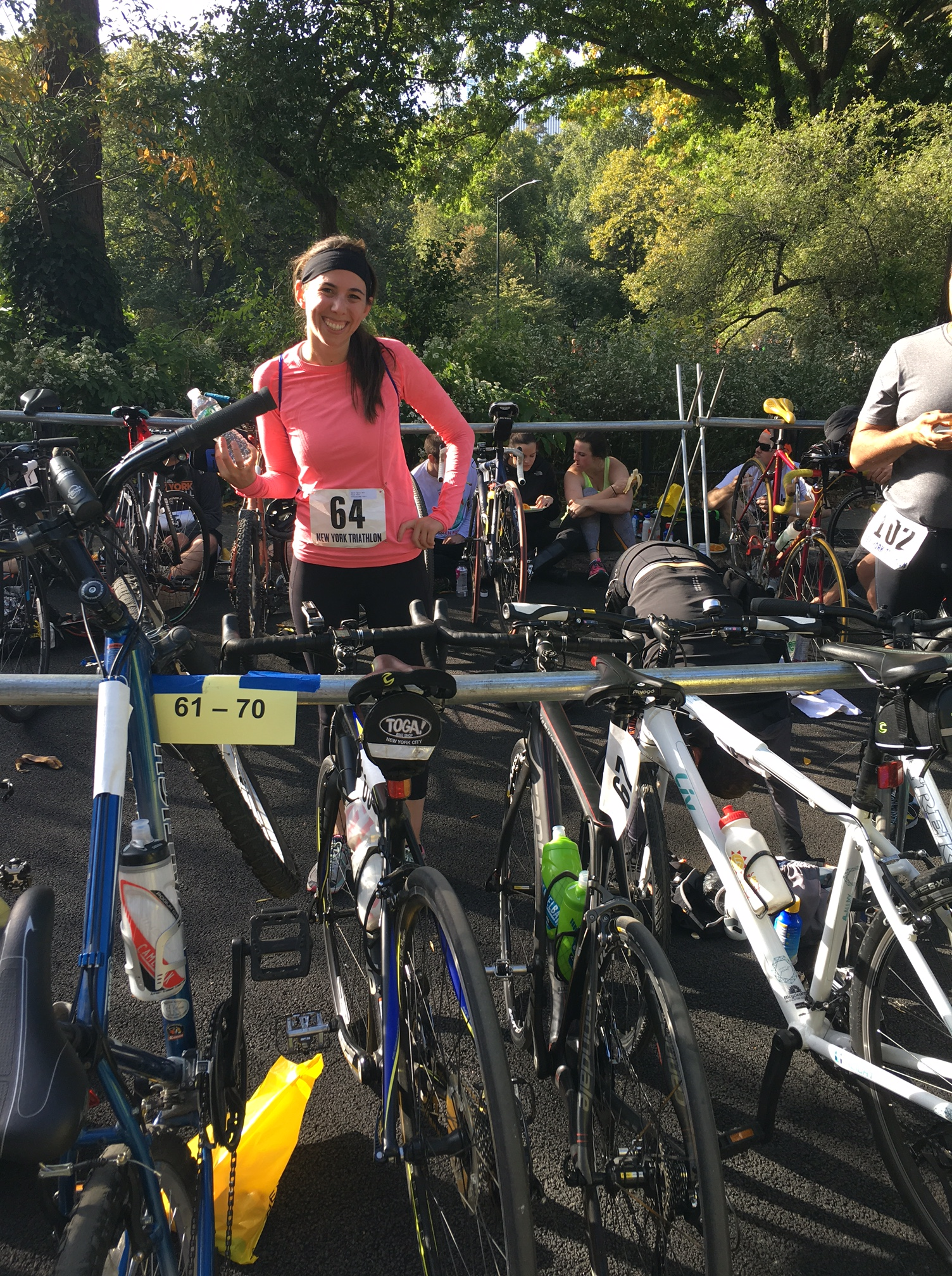 transition area of the NYC Duathlon