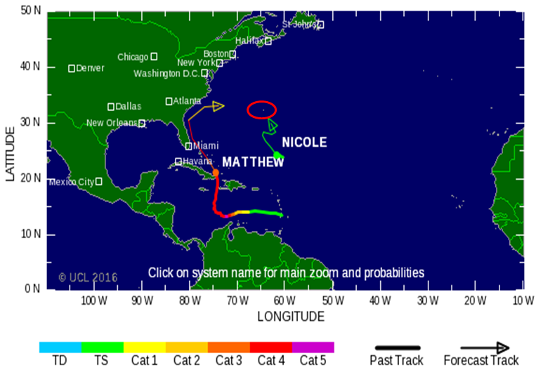 tropical storm nicole and hurricane matthew
