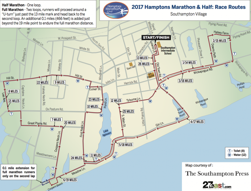 Hamptons half course map